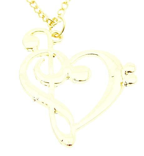 Vrouwelijke ketting - vrouw - hart - muziek - g-sleutel - stijl - muzieknoot - goud - kerstmis - origineel cadeau-idee