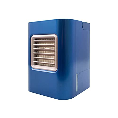 FCMU Mini acondicionador de Aire portátil, Ventilador de Escritorio con Interfaz USB, enfriamiento de Tres en uno, humidificación y atomización, Viento Fuerte sin Ruido Blue