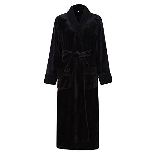 Richie House Women's Plush Soft Warm Fleece Bathrobe RH1591-F-XL Black