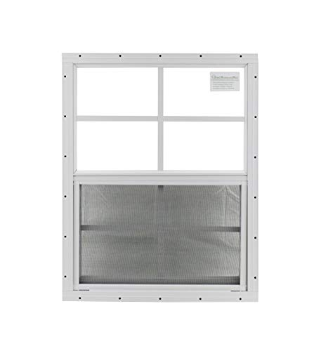 """Shed Window 18"""" X 23"""" White Flush Mount, Safety/Tempered Glass Storage Shed, Playhouse"""