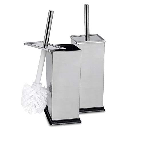 Harbour Housewares Brosses à Toilettes carrées avec Support - Salle de Bain - Acier à Finition chromée - Lot de 2