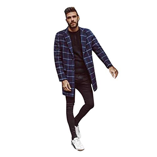 Azruma Herren Karierter Wollmantel Cardigan Mantel Wintermantel Slim Fit 2 Schnallen Wollmantel Business Herrenmantel Lange Trenchcoat Jacken