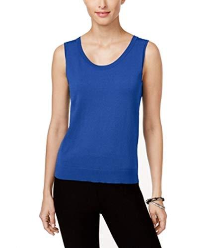 August Silk Womens Knit Scoop Neck Sweater Vest Blue S