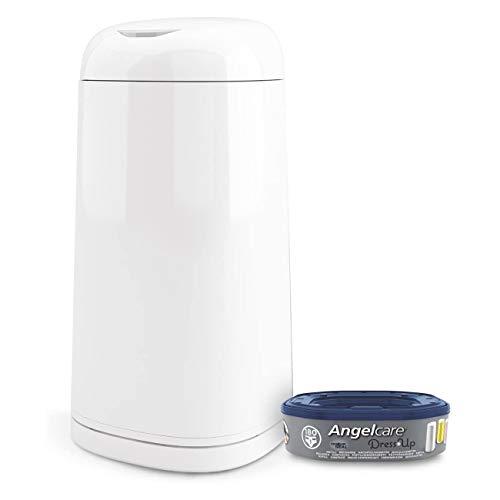 Angelcare - Poubelle à Couches + 1 recharge - Anti Odeurs et Grande Capacité - Antibactérien - Usage Simple - Dress up - Blanc