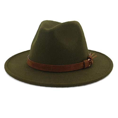 Sombrero De Fieltro con La Cinta De Piel Caballero Señora Otoño Invierno Amplia Iglesia Jazz De ala del Sombrero del Casquillo Verde Panamá