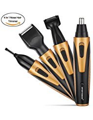 Nose Hair Trimmer, [Newest Version] 4 in 1 Rechargeable Nose Trimmer/Nose Ear Trimmer/Beard Trimmer/Sideburn Trimmer/Eyebrow Trimmer Stainless Steel&Water Resistant with Wet/Dry&Vacuum (Orange)