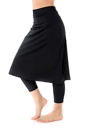 Undercover Waterwear Women's High Waisted Swim Skirt with Attached Leggings- UPF 50+ Cover Up Swim Skirt with Capris Inserted- BXS Black
