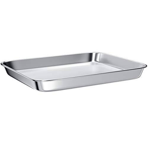 Toaster Oven Tray Pans,Small Baking Sheet Stainless Steel Toaster Oven Baking Pan and Cookie Sheet,Rectangle Size 10.8 x 8.4 x 1.4 inch,Mirror Finish & Anti-Rust,Thick & Sturdy