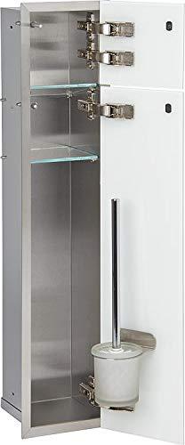 WC-Wandcontainer, 2 graue Glastüren, 1 Papierrollenfach + 1 Fach Anschlag rechts - WC-Modul