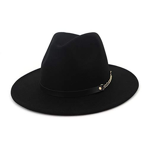 Azly-Caps Chapeaux de Cow-Boy de Fedora de Laine, Style Vintage de Bande de tête élastiquée intérieure,Noir