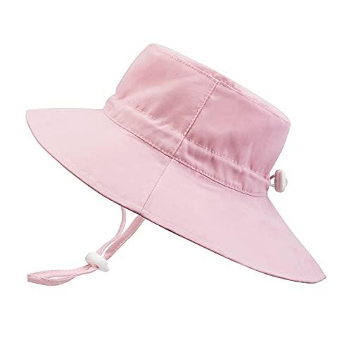 JUPSK Sombrero de Pescador para niños,Sombrero Unisex de ala Ancha para el Sol, Sombrero de Playa Plegable con mentón Ajustable UPF 50+ y Sombrero para Jugar al Aire Libre
