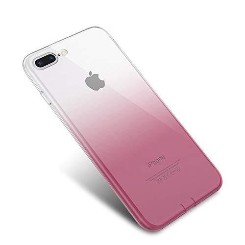 floveme cases for iphone 5s MISC Pink Gradient Themed iPhone 8 Plus Sized Case, Bigger Screen Fuchsia Clear Ombre 7 Plus Cover Rosy Rose Shadow Gradual Hue Blended Tint Shade Light Dark Popular Trendy Graphic Soft, Silicone