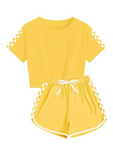 Ybenlover Survêtement 2 pièces pour enfants filles garçons Crop Top avec short Pantalons Ensemble de pyjama, jaune, 9 ans