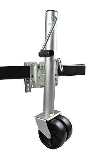 "MaxxHaul 70149 26-1/2"" to 38"" Lift Swing Back Trailer Jack with Dual Wheels - 1500 lbs. Capacity"