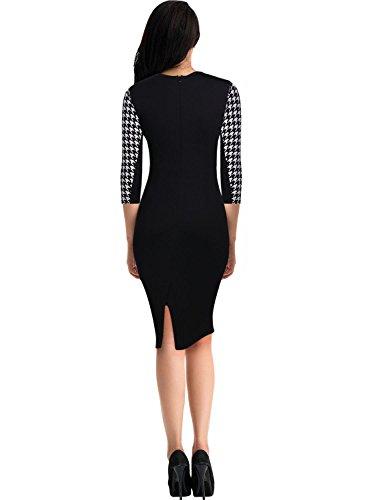 Miusol Damen Kleid Mit 3/4-Arm Hahnentritt Muster mit Reissverschluss vorne?Business Abendkleider Schwarz EU 44/46/XXL - 4
