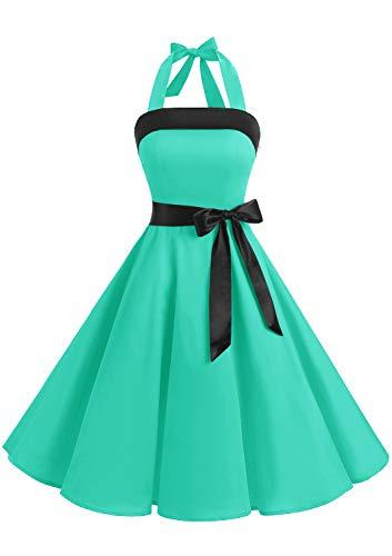 Abito Vintage Donne Vestito Cocktail 1950 Gonna retrò Estiva Rockabilly Allacciatura al Collo di Polka Dots Molti Colori Tiffany XL