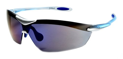 XS Sport Wrap TR90 Sunglasses UV400 Unbreakable Protection for Cycling, Ski or Golf (Silver & Ice Blue)