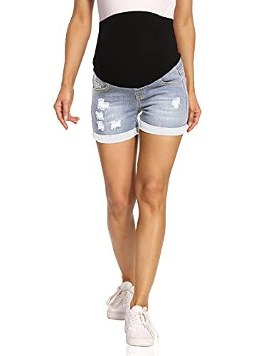 Kegiani Pantalones cortos de premamá para mujer, pantalones vaqueros cortos de maternidad, pantalones cortos con banda para el vientre para verano 05#Bleach Blue S