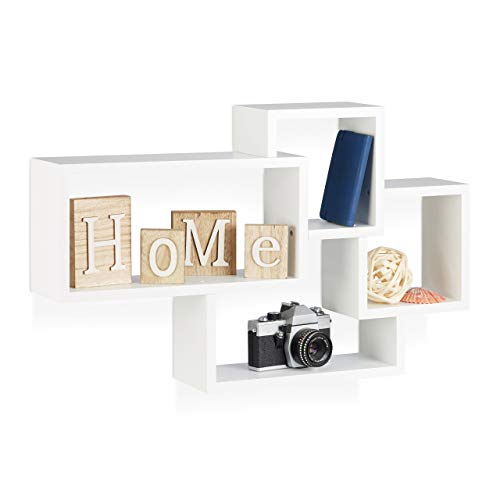 Relaxdays 10021900_49 Cubi da Parete, Mensole Cube, Design Moderno, 4 Scomparti, Legno MDF, HxLxP: 42x69x12 cm, Bianco