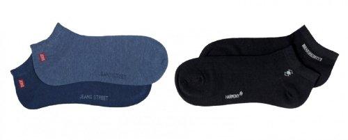 Tobeni 6 Paar Herren Sneaker Socken Sneakers Füsslinge in Baumwolle Farbe Jeans-Schwarz Grösse 43-46