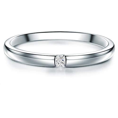 Tresor 1934 Damen-Ring Verlobungsring Sterling Silber 925 mit Topas Solitär-Ring - Ehe-Ring mit Edelstein Spann-Ring für Frauen