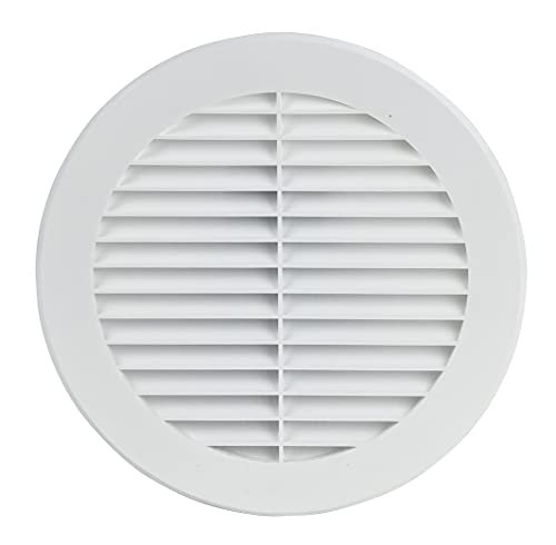 150mm Weiß Lüftungsgitter Abluftgitter Insektenschutz Rund Flansch Kunststoff