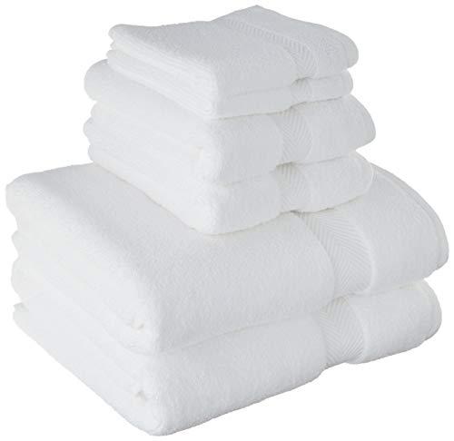 Superior Collection – Juego de toallas de algodón supersuaves y absorbentes (6 piezas), Moderno, Blanco,…