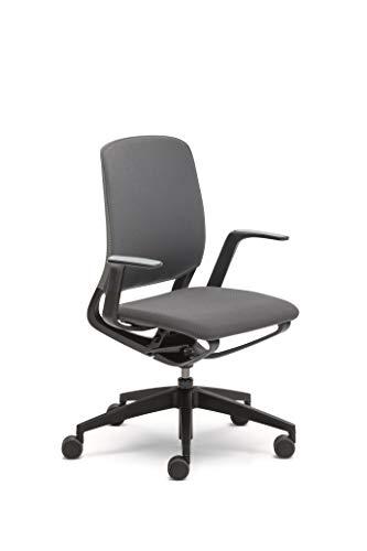 Sedus se:motion, Bürostuhl, schwarz, mit Armlehnen, Sitz- u. Rückenpolster in anthrazit/schwarz, Kunststoff 950 - 1065 mm