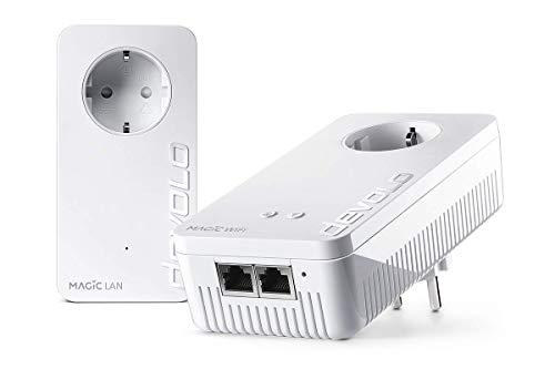 Devolo Magic 1 WiFi: Powerline con funzione WLAN, WiFi fino a 1200 Mbit/s AC, 2x Adattatore Pro Fast Ethernet allacciamento LAN, presa di corrente integrata, Mesh WiFi, Access Point, bianco