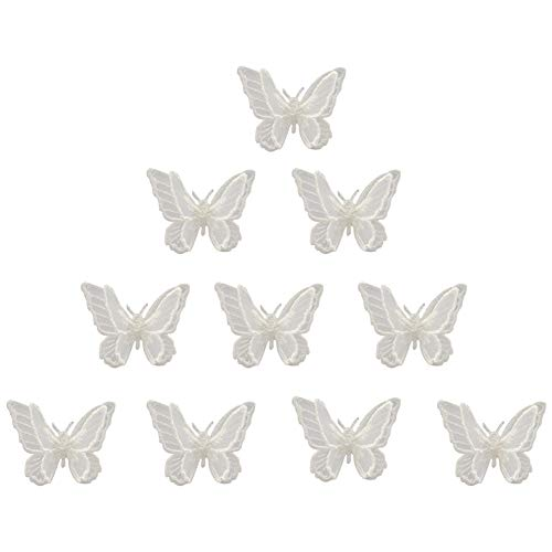 XUNHUI White 3D Lace Butterfly Appliques Patches for Clothing DIY Dress Sewing Embroidery Appliques Decoration Patch 10 Pieces
