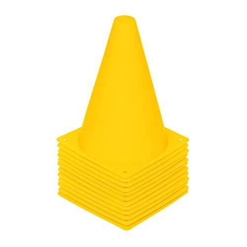 REEHUT 7.5 Inch Plastic Sport Training Traffic Cone (Set of 12, Yellow)