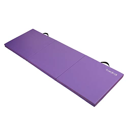 Exercise Mat Extra Thick TriFold Yoga Mat, Gymnastics, Martial Arts, and Home Gym Floor Mat with Carrying Handle, 2 Inches, Purple, HemingWeigh