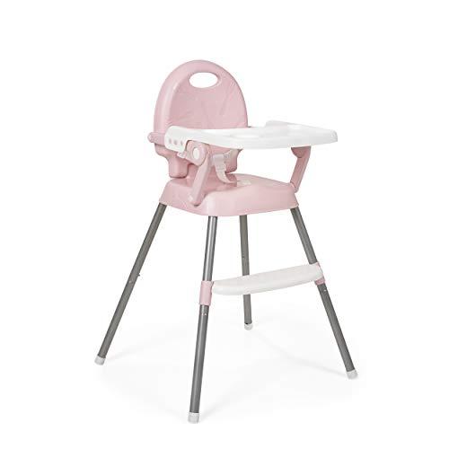 Innovaciones MS 2081 - Trona para bebe convertible en alzador y en silla- 3 en 1- trona plegable spoon ms, Rosa