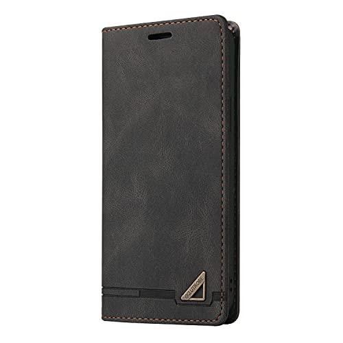 JZ Capa carteira Mi CC9e Skin Touch Feeling [design triângulo de metal], capa flip com fecho magnético para Xiaomi Mi CC9e / Mi A3 - Preta