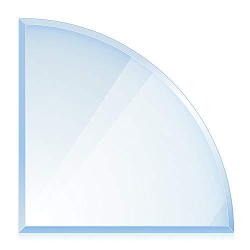 bijon® Funkenschutz-Platte mit Facettenschliff | Glasplatte Kaminofen | Kaminschutz mit ESG Sicherheitsglas | Kamin Zubehör | Kamin Glasplatte | Viertelkreis 1200x1200x8mm