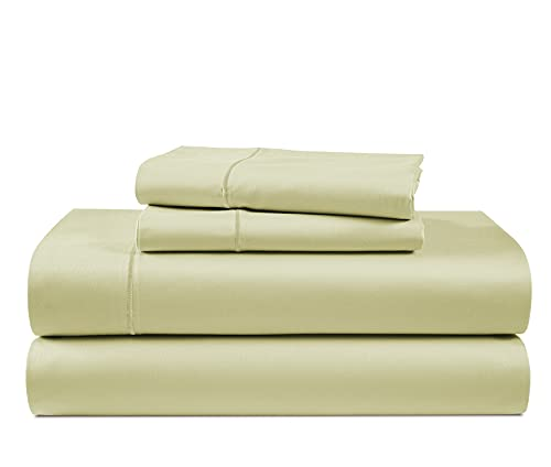 Luxury 100% Egyptian Cotton Bed Sheets - 1000 Thread Count 4-Piece Sea Foam Queen Sheets Set, Long Staple Cotton Bedding Sheets, Sateen Weave, Hotel Sheets, 16' Deep Pocket (Fits Upto 17' Mattress)