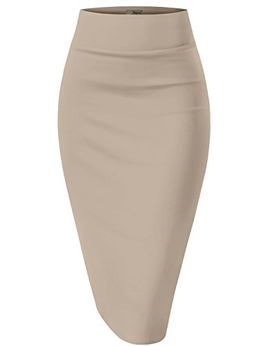 Womens Pencil Skirt for Office Wear KSK43584X 1139 Stone 2X