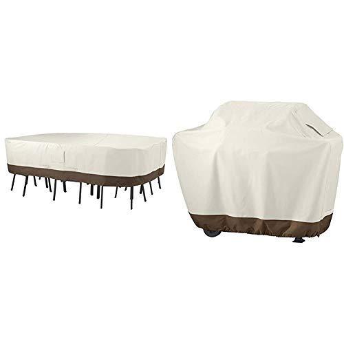 Amazon Basics Abdeckung für rechteckigen / ovalen Gartentisch mit Stühlen, Gr. L & Grillabdeckung, Gurte mit Click-Verschluss, Gr. L