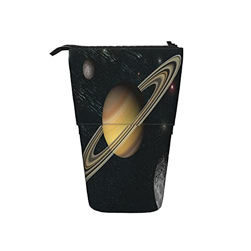 Astuccio telescopico Astuccio per cancelleria,Universo Pianeta Saturno,Supporto per matite Stand Up Astuccio per cosmetici con cerniera per l ufficio del college scolastico