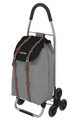 Colombo Chariot de courses en aluminium à 3 roues, gris, sac de 40 litres