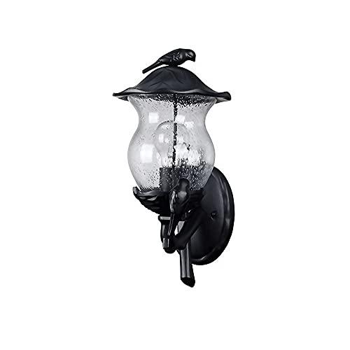 Lámparas de pared retro industriales, aluminio fundido a presión + cuerpo de lámpara decorativa en forma de pájaro, apliques de pared con pantalla de cristal de burbujas de luz transparente, luces de