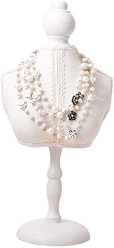 Maniquí Ajustable Exhibición de la joyería de Madera Blanca de Encaje maniquí Estante de joyería Marco Colgante del Collar del Brazalete Stand de joyería (Color : 17x35cm)