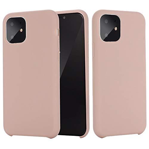 Haiqing Funda protectora de silicona líquida de alta calidad ultra delgada a prueba de golpes, de goma suave, compatible con iPhone 11 Pro Max (6,5 pulgadas) (color rosa, tamaño: iPhone 11 Pro Max)