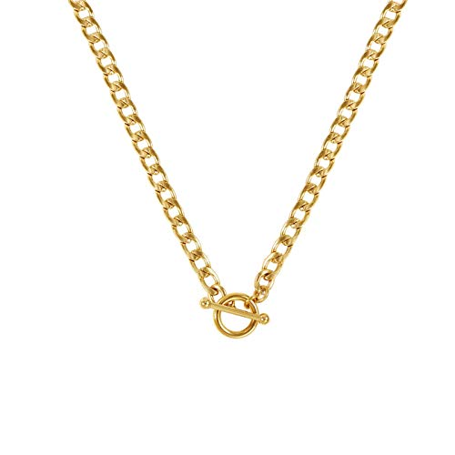 BOUTIQUELOVIN Gold Plated Curb Chain Pendant Necklace | Toggle Clasp Pendant Necklace