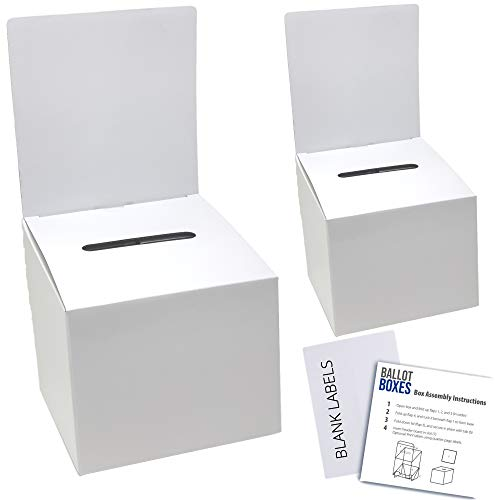 Ballot Box for Suggestions Donations Raffles White Glossy Cardboard Boxes with Removable Header in Medium Size 6x6x6 inches with Slot for Tickets and More (2 Pack)