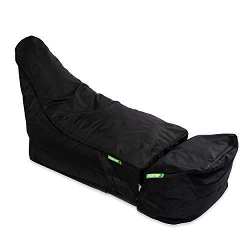 Green Bean © Zone3 Set - Gaming Sitzsack mit Add-On Hocker - 120x55x75 cm - 150L Füllung - wasserabweisend, schmutzabweisend, waschbar - Gamingstuhl - Sitzkissen für Kinder & Erwachsene - Schwarz