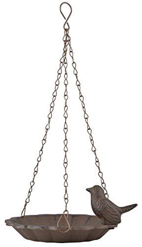 Esschert Design Hängende Vogeltränke, 1 Vogel aus Gusseisen und Schiefer,16,0 x 16,0 x 7,6 cm