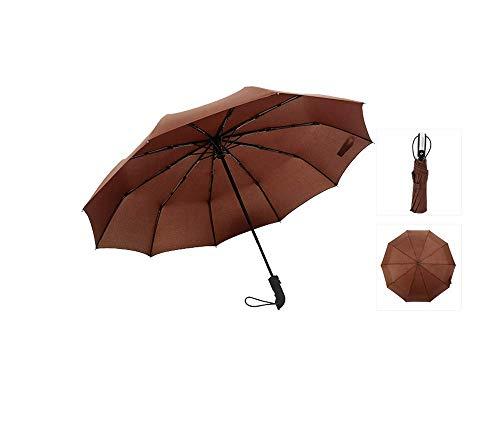 Y-S Paraguas Totalmente Automático/Tenedor Hueso/Parasol/Compacto Y Ligero/Amortiguador a Prueba de Viento 150 Km/Hora, Azul Marino, 105 cm, marrón, 105cm
