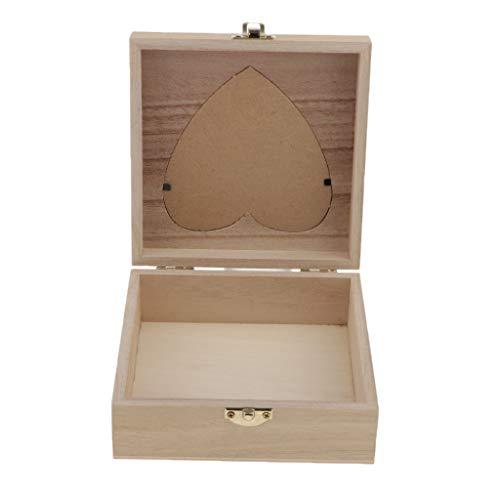 Bonarty Caja de Almacenamiento de Joyería de Madera Pequeña con Corazón de Amor