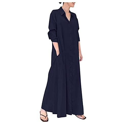 BIBOKAOKE Vestido de verano para mujer, blusas de manga larga, cuello en V, camisas largas, camisas de gran tamaño, túnica, blusa, vestido suelto, aspecto de lino, Mujer, Azul oscuro6, small
